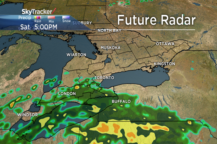 Plenty of rain and high winds are expected to roll into southern Ontario on Saturday.