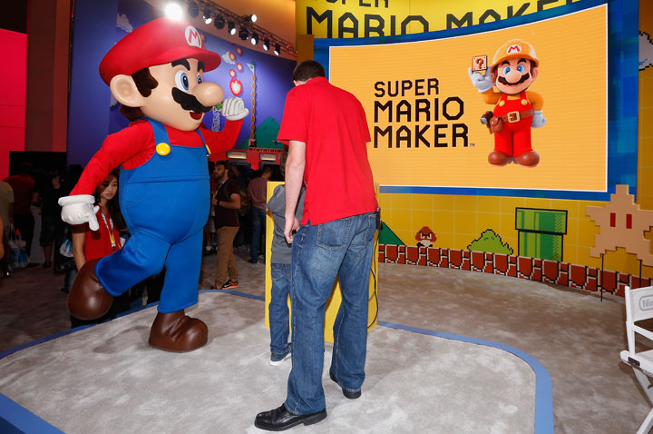 'Super Mario' performs at the Nintendo exhibit during the Annual Gaming Industry Conference E3.