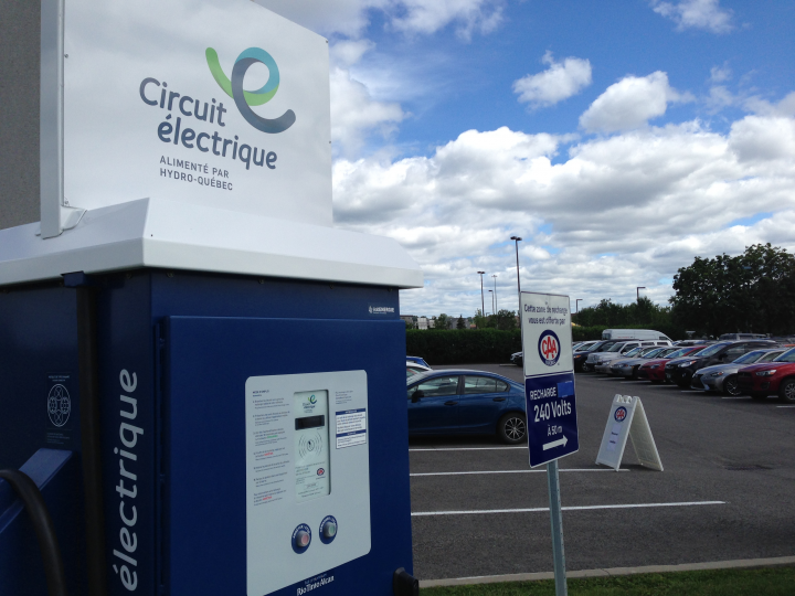 An electric car charging station in Quebec.