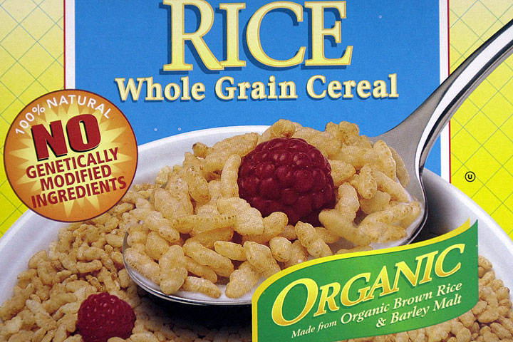 This file photo shows labeling stating no genetically engineered ingredients on a box of Erewhon Crispy Brown Rice Cereal.