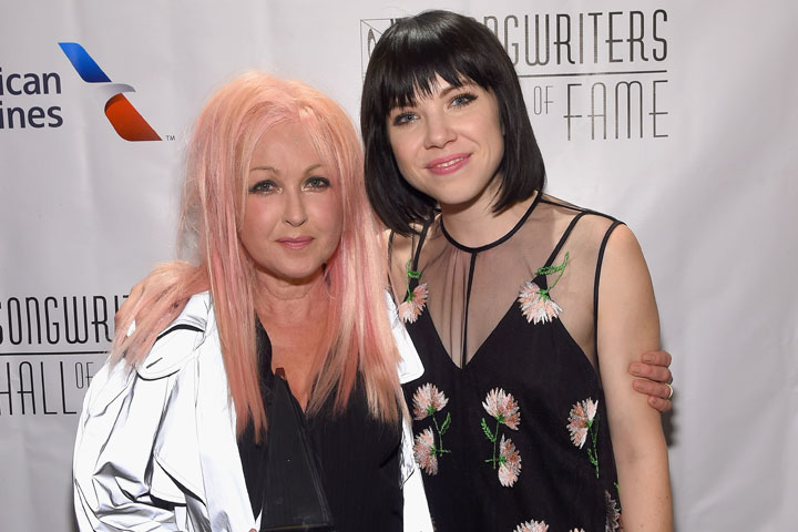 Cyndi Lauper pictured with Carly Rae Jepsen on June 18, 2015.