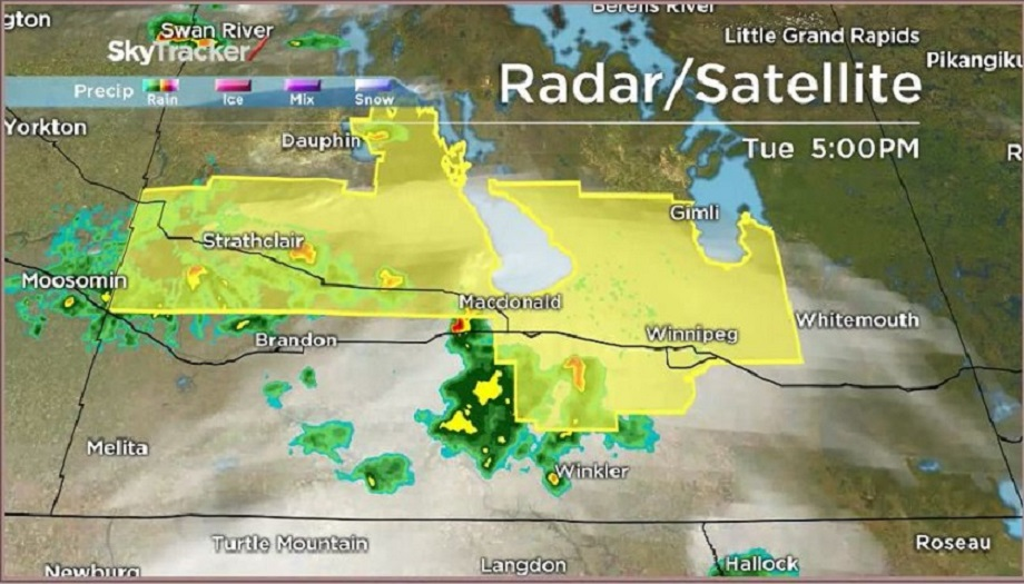 The city of Winnipeg and surrounding areas have been placed under a severe thunderstorm watch.