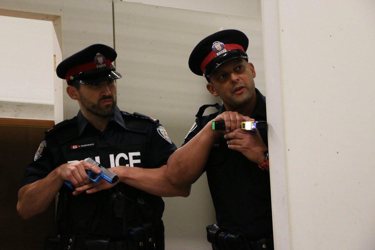 Toronto Police conduct a Taser training scenario at the Toronto Police College in Etobicoke.