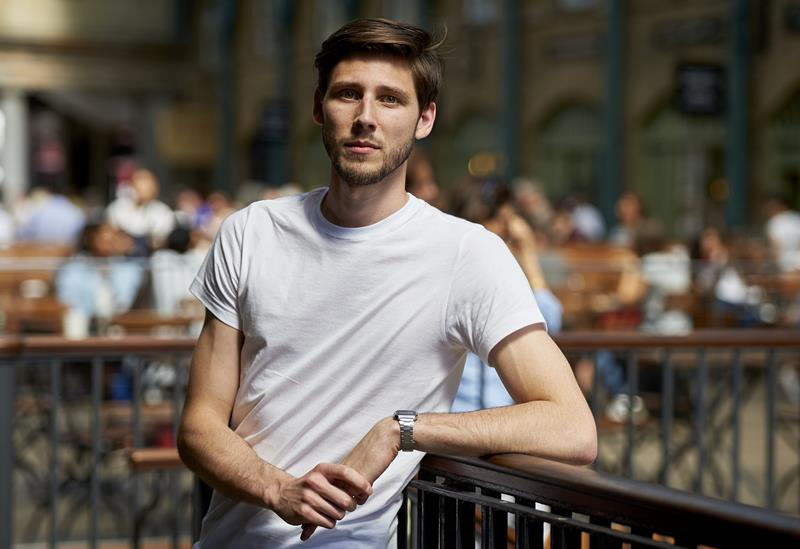 Britain's Thom Feeney poses in central London on June 30, 2015. Feeney, a shoe-shop employee has raised over 65,000 euros ($72,000) so far through an online crowdfunding project to help Greece meet its International Monetary Fund debt repayment.