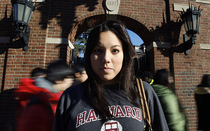 Harvard University student Lanya Olmstead in Cambridge, Mass. Ethnically, she considers herself half Taiwanese and half Norwegian. But when applying to Harvard, Olmstead checked only one box for her race: white. Some Asian-American groups who say the university uses racial quotas to keep out high-scoring Asians.
