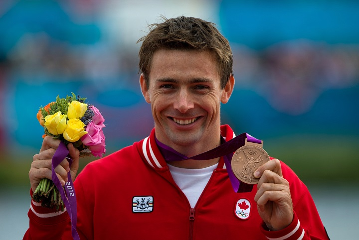 Canada's Mark Oldershaw celebrates bronze in the men's 1000-metre canoe single (C1) final at Eton Dorney during the 2012 Summer Olympics in Dorney, England on Friday, August 8, 2012.THE CANADIAN PRESS/Sean Kilpatrick.