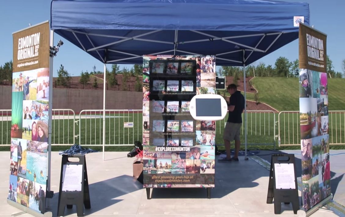 Edmonton Tourism's Twitter-activated vending machine in Fort McMurray on June 27, 2015.