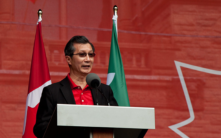 Michael Chan speaking on Canada Day at Queen's Park in Toronto on July 1, 2015.