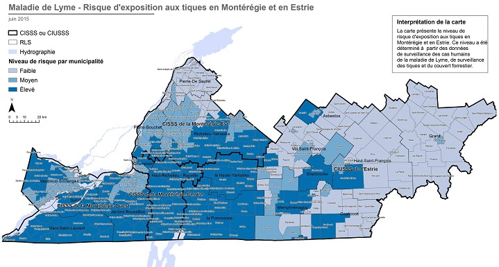 Lyme disease risk levels in Montérégie and Estrie.