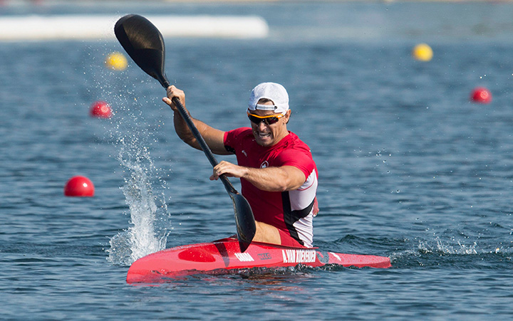 Adam van Koeverden paddles his way to a third place finish and a bronze medal in the K1 1000m final kayak race at the 2015 Pan Am Games in Welland, Ont., Monday, July 13, 2015.