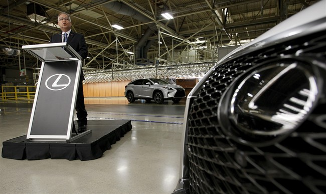 Gary Goodyear, minister of state responsible for the Federal Economic Development Agency for Southern Ontario, speaks at Toyota's Cambridge, Ont. facility in July.