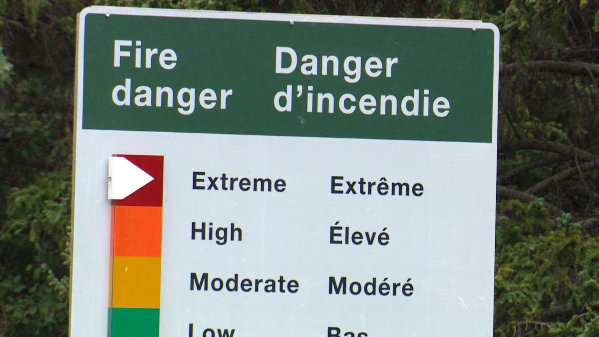 A sign showing the extreme fire danger rating.