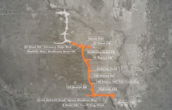 Calgary Ring Road map