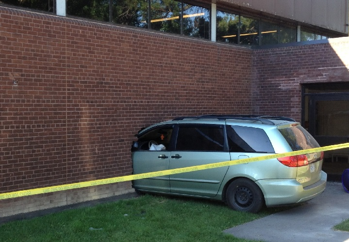 A mini-van slammed into a fitness centre in Toronto on July 31, 2015.