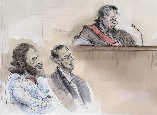 In an artist's sketch, Chiheb Esseghaier (left) and Raed Jaser (centre) appear in court in Toronto on Thursday, March 5, 2015 as Justice Michael Code looks on.