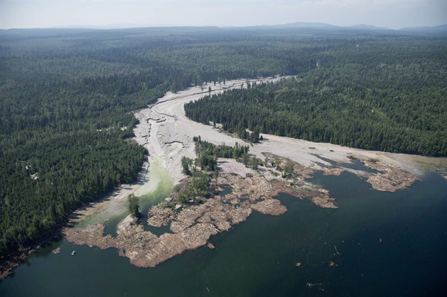 Contents from a tailings pond is pictured going down the Hazeltine Creek into Quesnel Lake near the town of Likely, B.C. on August, 5, 2014. British Columbia's Ministry of Environment says the first stage of a massive recovery operation at the collapse of a tailings dam at the Mount Polley mine site has been complete. THE CANADIAN PRESS/Jonathan Hayward.