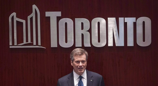 Toronto Mayor John Tory is pictured in Toronto on December 2, 2014. Tory and other Canadian mayors are discussing ways to bring more Syrian refugees to their cities.