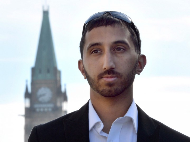Deepan Budlakoti is pictured outside the Supreme Court building in Ottawa on Monday June 16, 2014.
