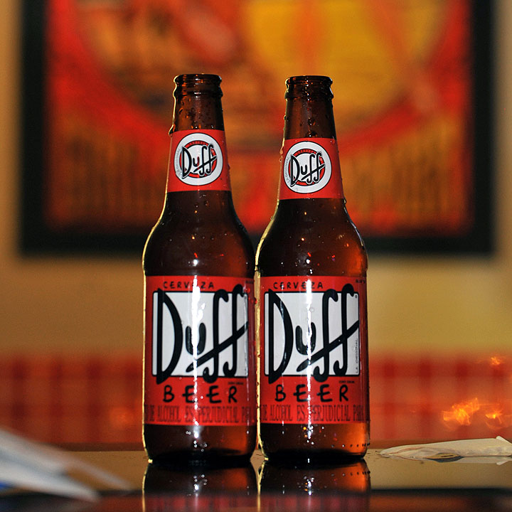 View of Duff beer bottles during an event on August 17, 2012, at a bar in Bogota, Colombia.