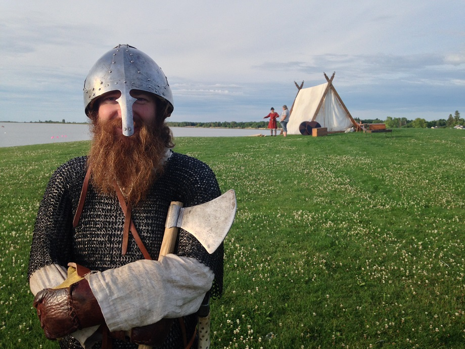 A viking impersonator stands in full costume before the Icelandic Festival of Manitoba.
