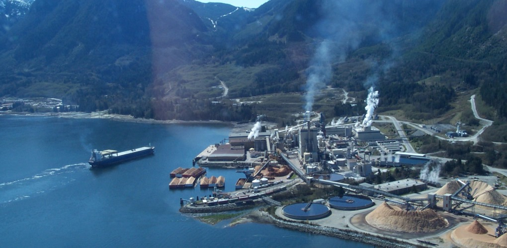 The Howe Sound Pulp and Paper Mil, which announced the end of its paper production operations on July 23, 2015.