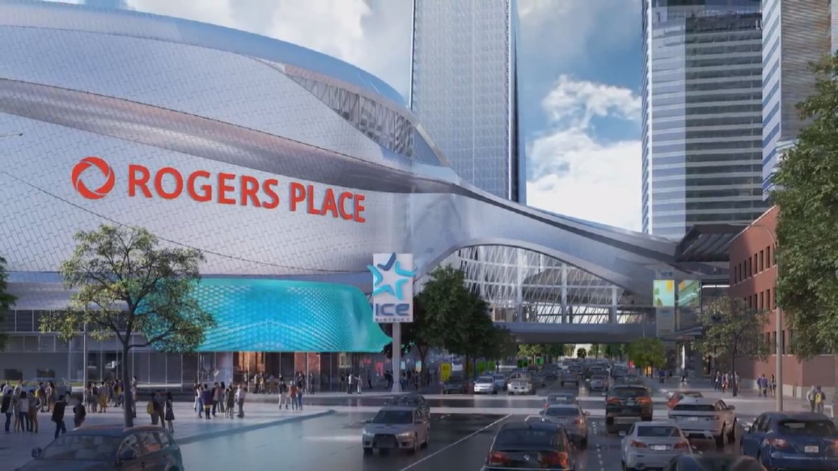 Rendering of the new Ice District signage around Rogers Place arena, which is slated to open in downtown Edmonton in Fall 2016.