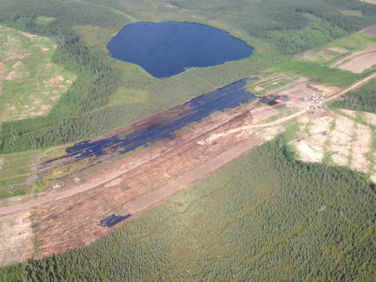 Aerial images show the bitumen emulsion spill at Nexen's Long Lake site.