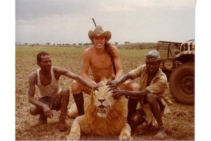 Ted Nugent poses with a lion he hunted in an undated photo he posted on Facebook.