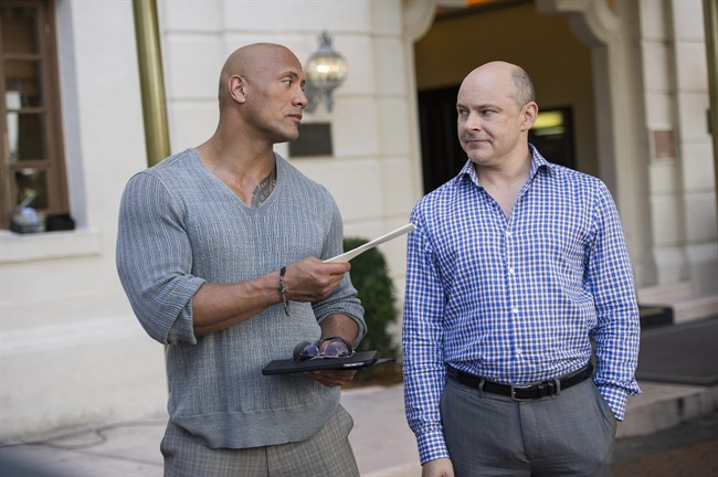 """Dwayne Johnson, left, and Rob Corddry appear in the series """"Ballers.""""."""