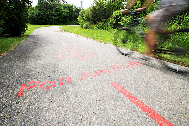 Art installations are pictured along the Pan Am Path on the Lower Don River trail, July 8, 2015.