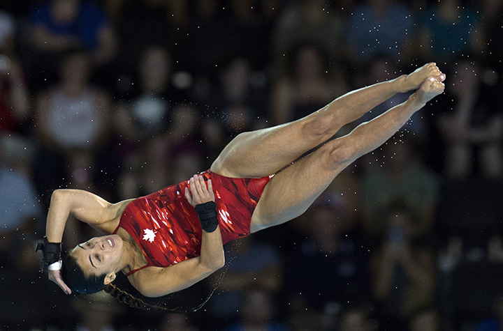Canada's Meghan Benfeito competes in the Womens 10m Platform finals at the 2015 Pan American Games in Toronto on July 11, 2015.