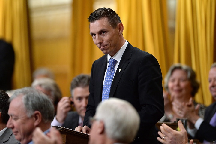 Conservative MP Patrick Brown gives his farewell speech in the House of Commons in Ottawa, Wednesday, May 13, 2015.