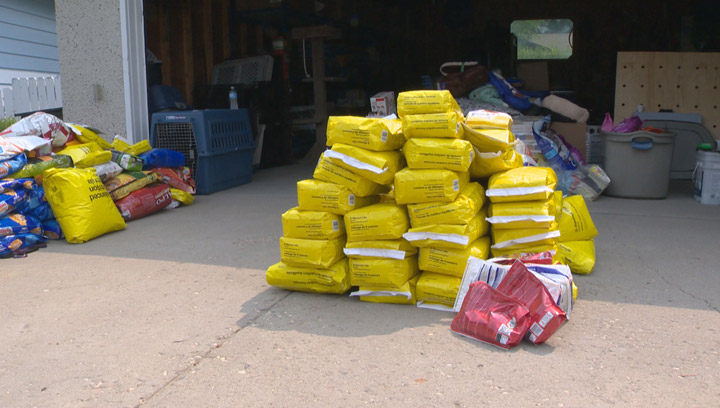 Group delivering food for pets stranded in northern Saskatchewan by the wildfires.
