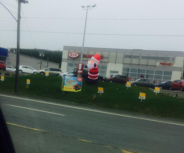 A Kia dealership in Newfoundland has decided that it feels closer to Christmas than summer.