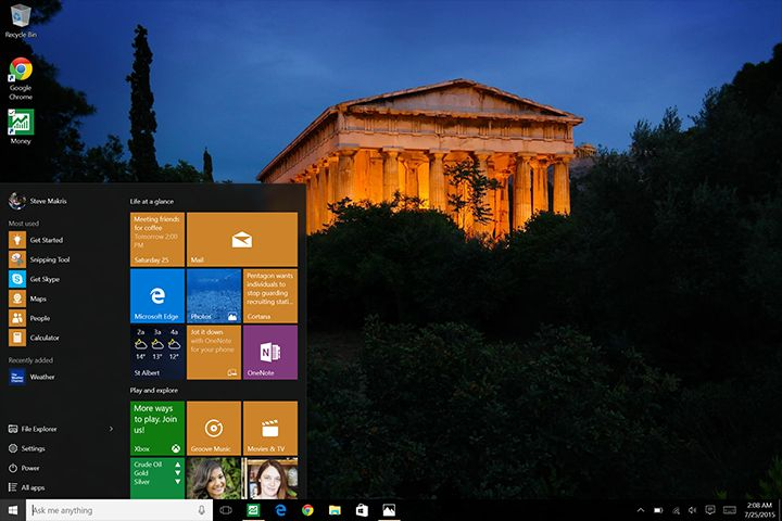 Windows 10 brings back the popular Start button with more user-friendly features.
