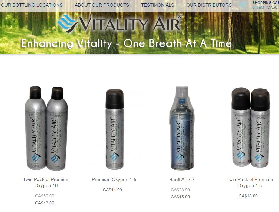 Bottled air and oxygen products available from Vitality Air.