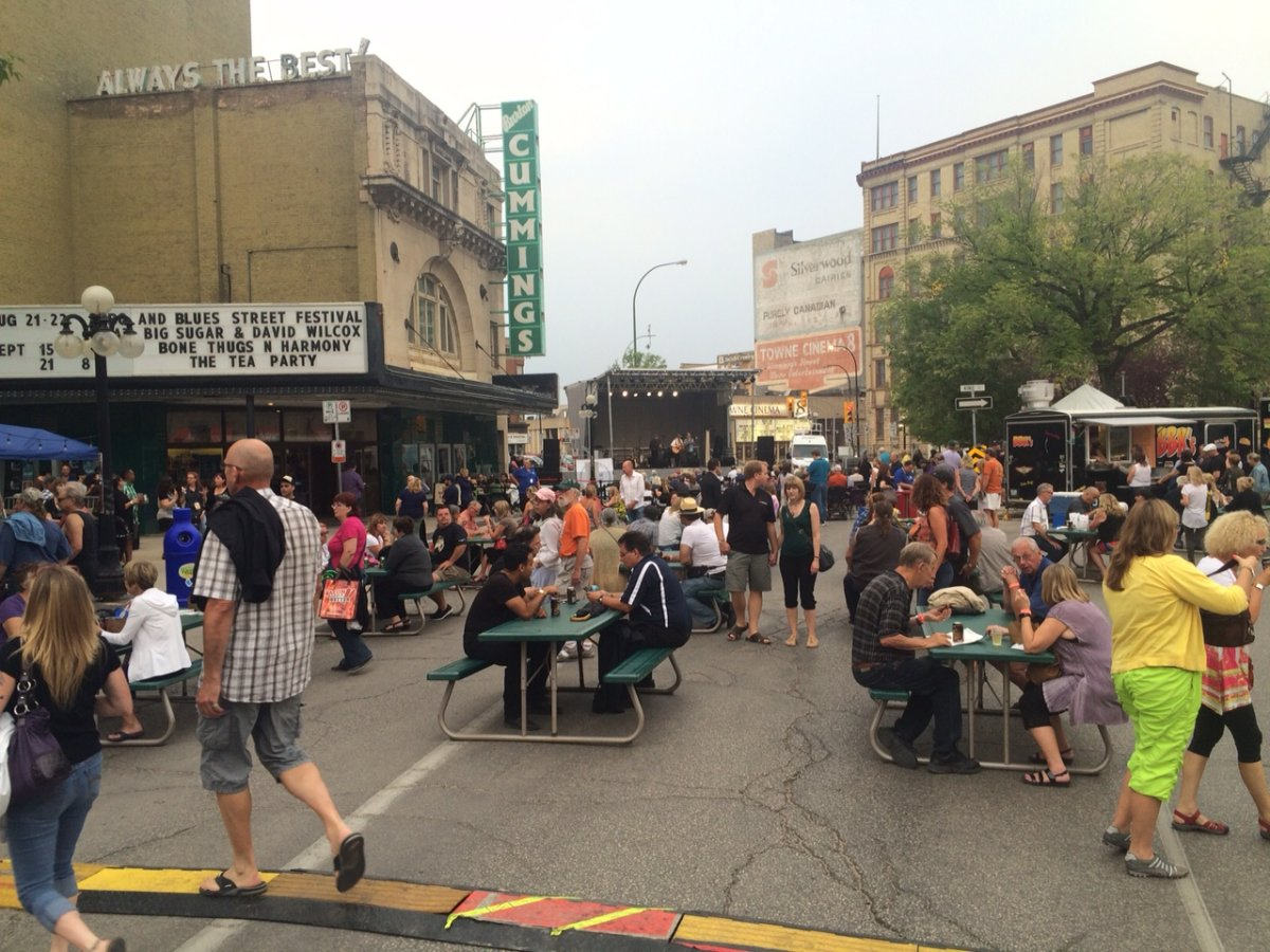 BBQ and Blues kicks off in front of Burton Cummings Theatre in 2015.