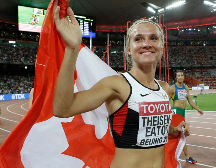 Saskatchewan's Brianne Theisen-Eaton claims silver at the World Athletics Championships at the Bird's Nest stadium in Beijing Sunday.