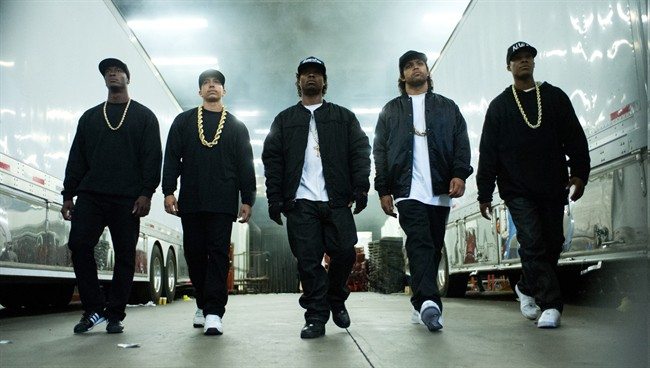 "This photo provided by Universal Pictures shows, Aldis Hodge, from left, as MC Ren, Neil Brown, Jr. as DJ Yella, Jason Mitchell as Eazy-E, O'Shea Jackson, Jr. as Ice Cube and Corey Hawkins as Dr. Dre, in the film, ""Straight Outta Compton.""."