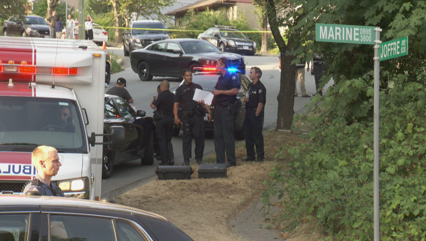 One person is dead after a violent scuffle at Marine Drive and Joffre Avenue on August 13, 2015.