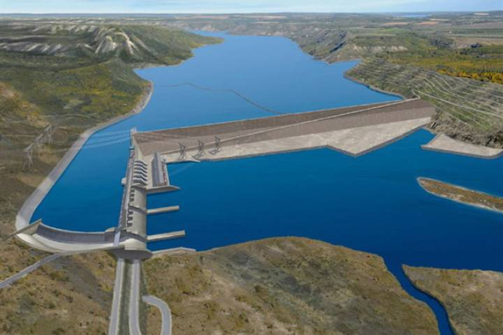 The projected BC Hydro Site C Dam is pictured in an artist's rendering.