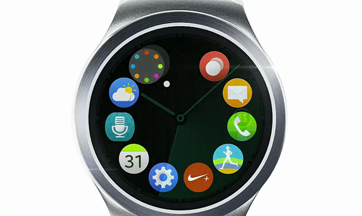 Samsung showed only a few glances of the round-faced watch – including a variety of watch faces – but did not reveal any further information about the device.