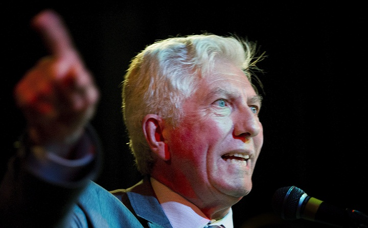 Bloc Quebecois leader Gilles Duceppe speaks to supporters during a federal election campaign stop in Montreal, Friday, August 7, 2015.