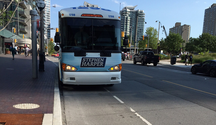 A photo posted online appears to show Prime Minister Stephen Harper's campaign bus blocking a downtown Toronto bike lane.