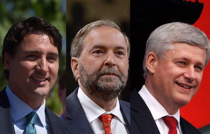 Liberal Leader Justin Trudeau, NDP Leader Tom Mulcair and Conservative Leader Stephen Harper.