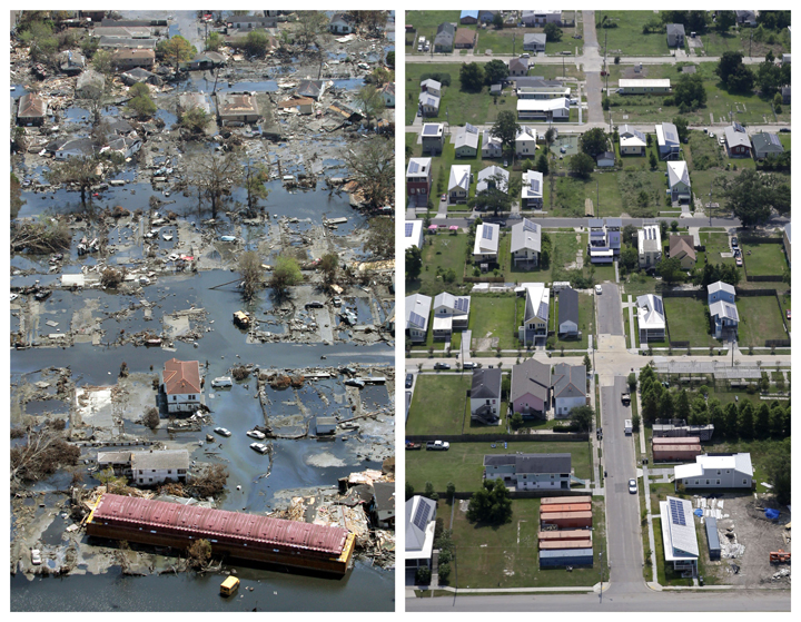 This combination of Sept. 11, 2005 and July 29, 2015 aerial photos show the Lower Ninth Ward of New Orleans flooded by Hurricane Katrina and the same area a decade later.