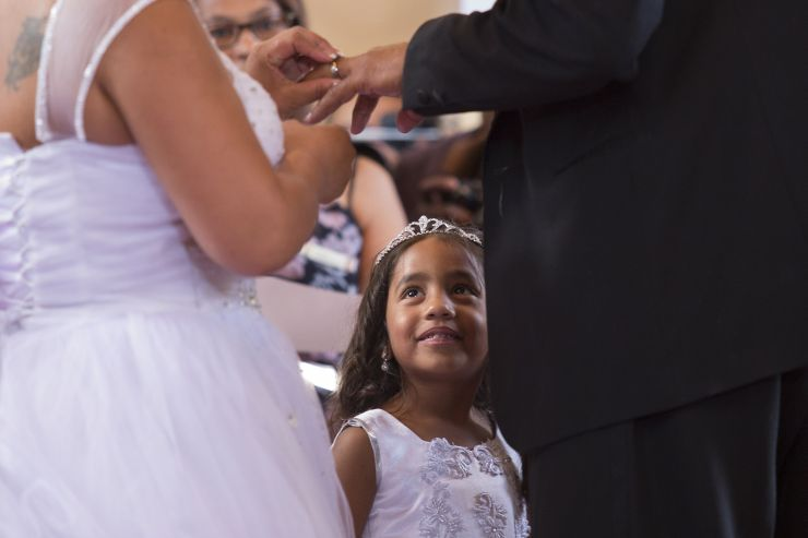 These days, it's not uncommon for a couple's child to be at their wedding.