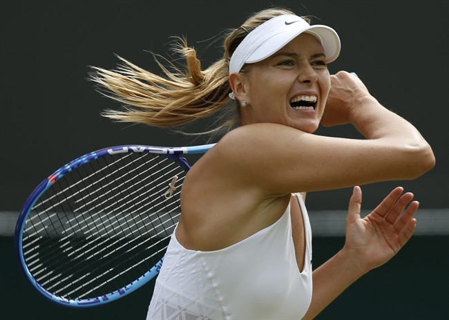 In this July 3, 2015, file photo, Maria Sharapova returns a ball to Irina-Camelia Begu during their singles match at the All England Lawn Tennis Championships in Wimbledon, London.