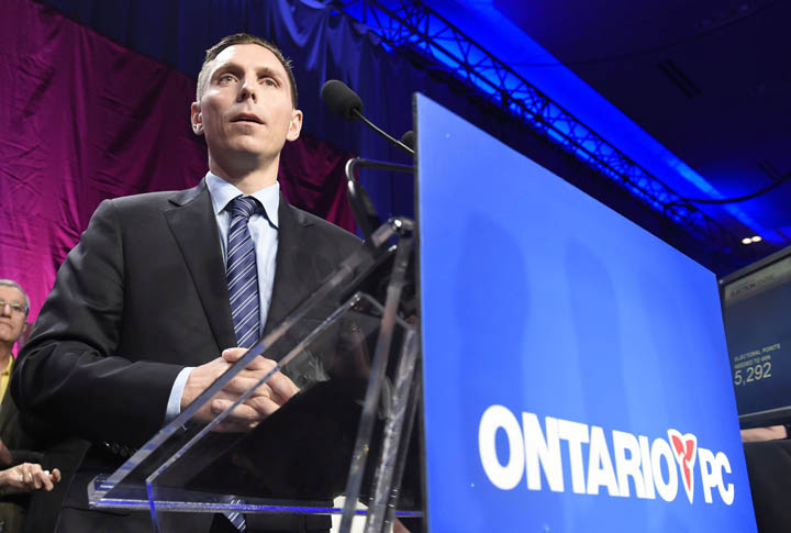 Ontario Progressive Conservative party leader Patrick Brown speaks after winning the PC party leadership in Toronto on Saturday, May 9, 2015.