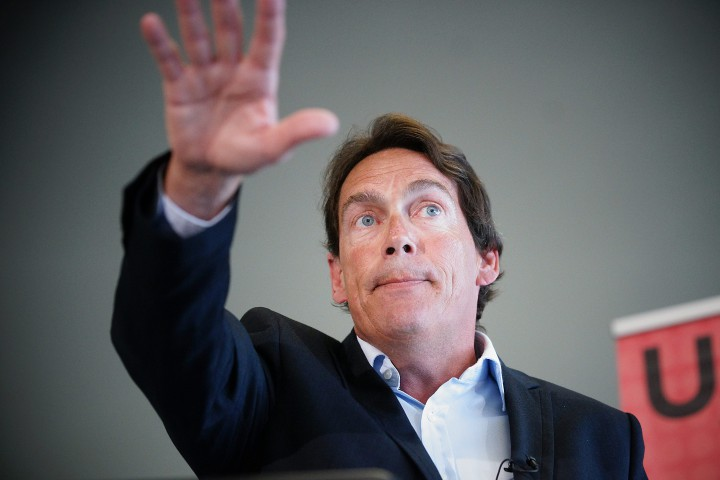 Leader of the PQ, Pierre Karl Péladeau speaks at a conference at the Institut du Nouveau Monde in Laval, Que., August 13, 2015.